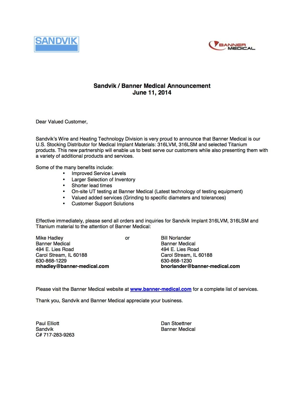 Sandvik® and Banner Medical Announce U.S. Stocking Distributor Partnership for 316LVM, 316 LSM, and Select Titanium Grade Materials