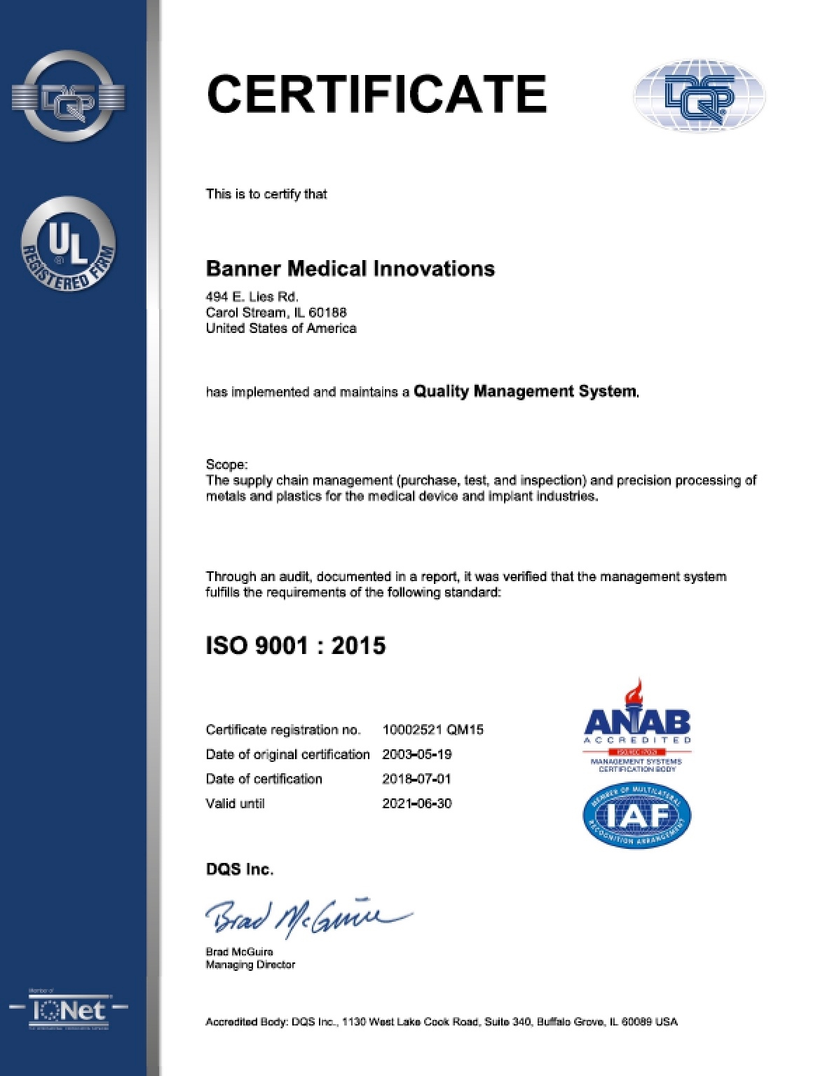 Banner Medical Carol Stream, Il. ISO 9001 Certificate