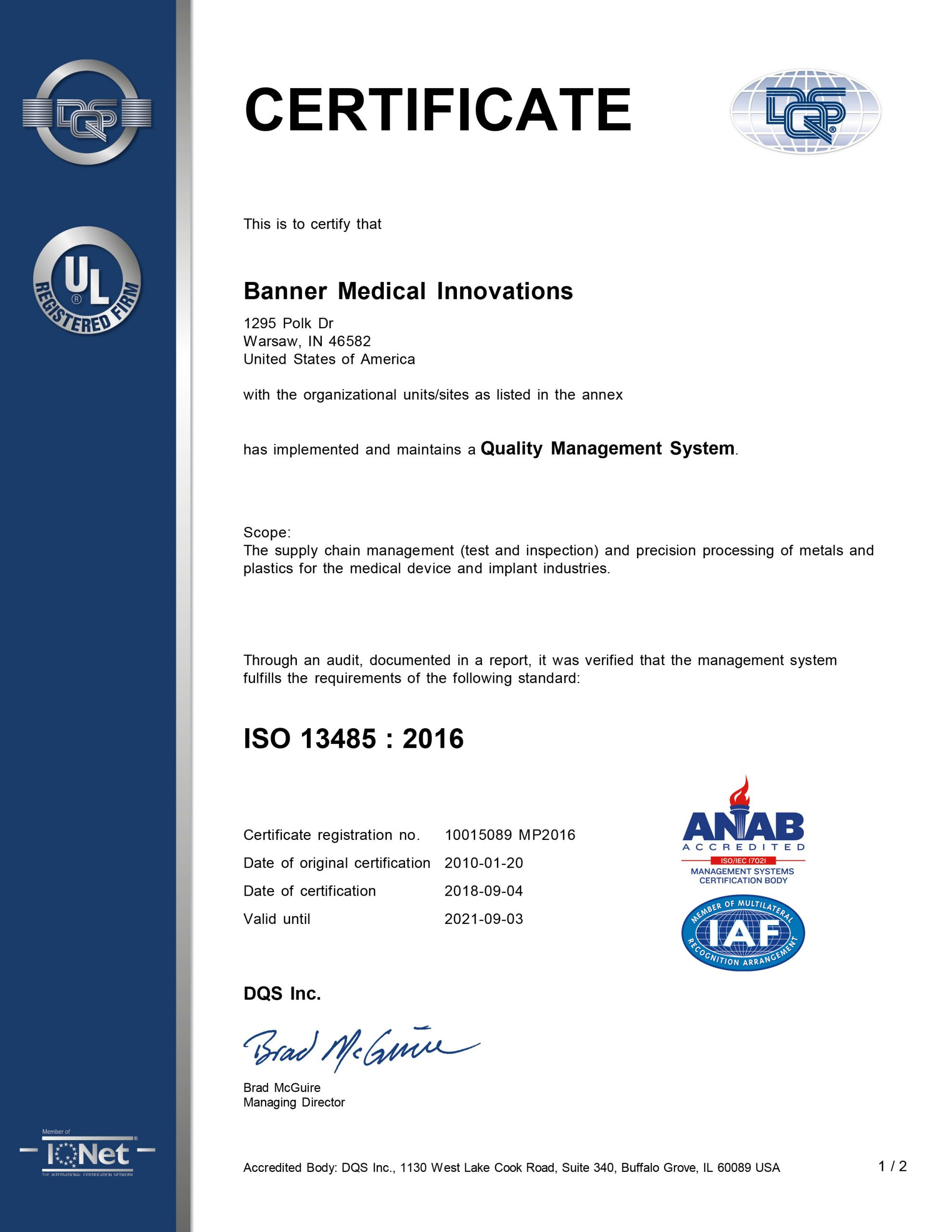 Banner Medical Warsaw, IN ISO 13485 Certificate
