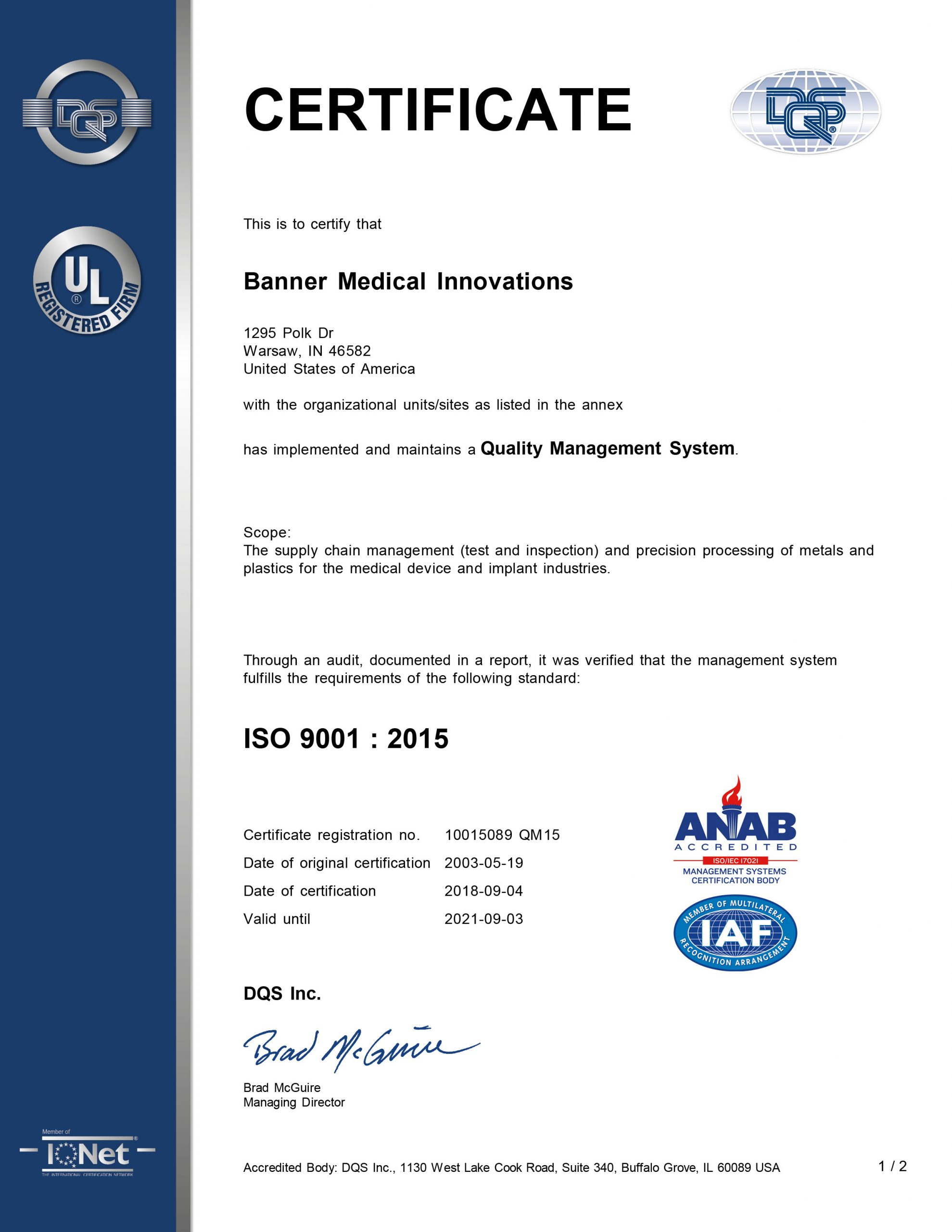 Banner Medical Warsaw, IN ISO 9001 Certificate